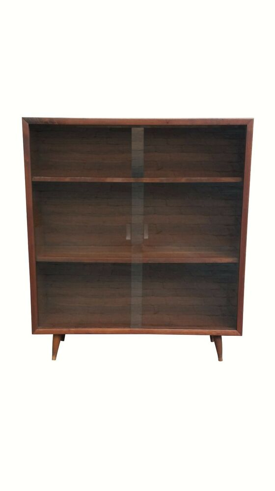 Mid Century Modern Mcm Glass Front Bookcase Ebay