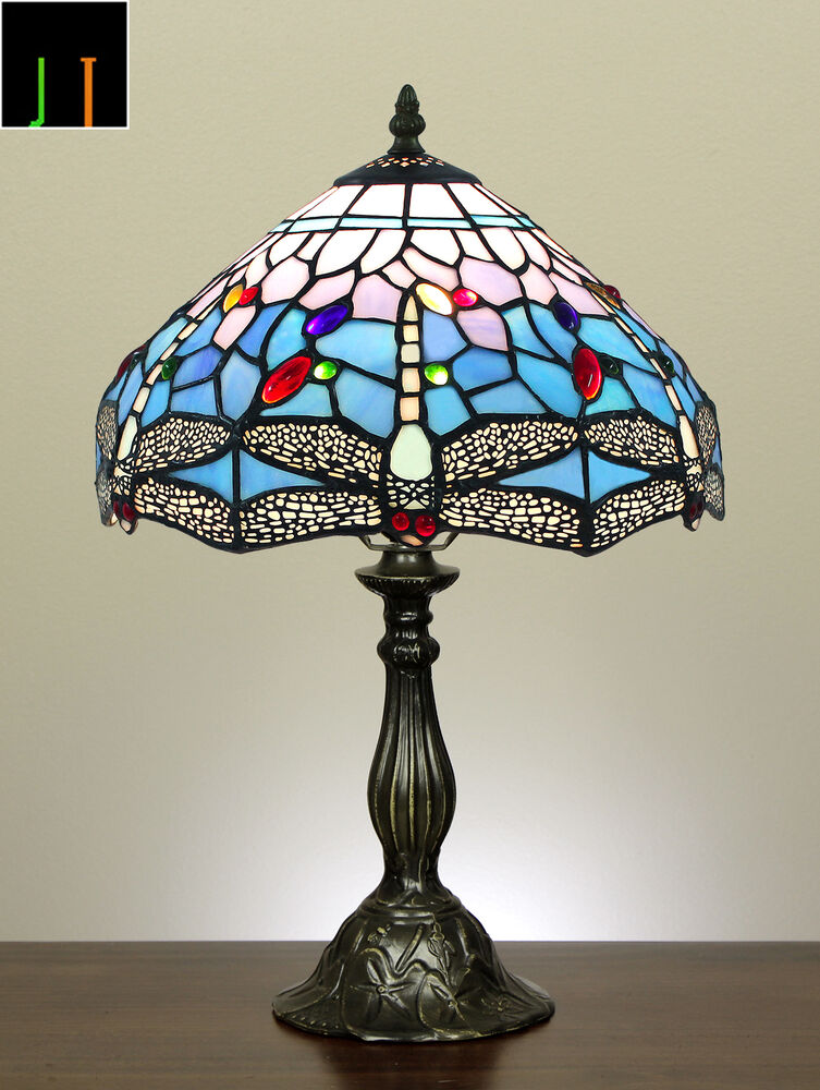 jt tiffany blue dragonfly stained glass bedside side table lamp light. Black Bedroom Furniture Sets. Home Design Ideas