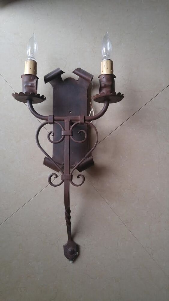 PAIR Antique Vintage Wall Lamp Candle Wrought Iron Sconces FREE SHIPPING IN USA eBay