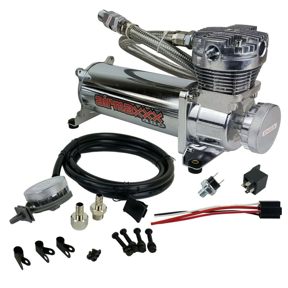 Chrome Air Compressor Kit With Air Intake Filter Relocator