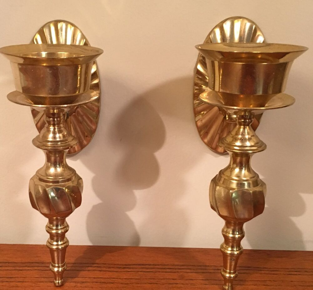 Candle Wall Sconces Nz : Vintage Brass Candle Holders; Wall Sconces; Hollywood Regency eBay