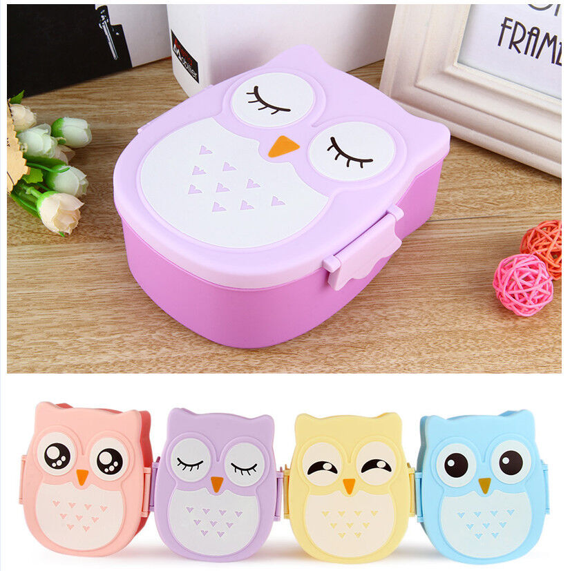 cartoon owl lunch box food fruit plastic storage container bento microwave oven ebay. Black Bedroom Furniture Sets. Home Design Ideas