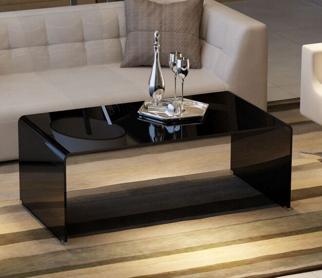 contemporary large curved black tempered glass coffee table ebay. Black Bedroom Furniture Sets. Home Design Ideas