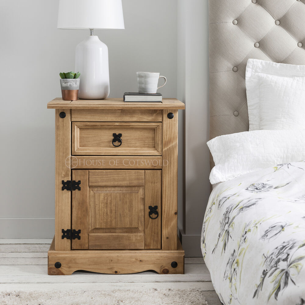 Wooden Bedside Tables Cabinets Unit Nightstand Corona
