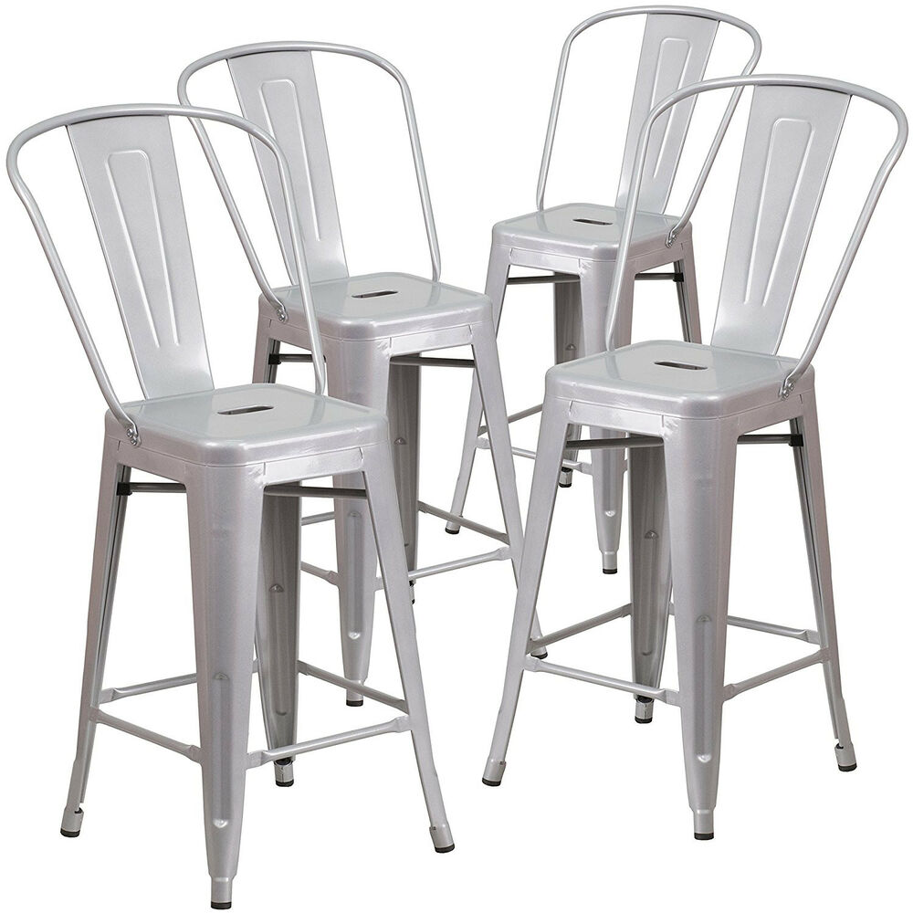 Set Of 4pc Modern Counter Height Style Stools W Back 24