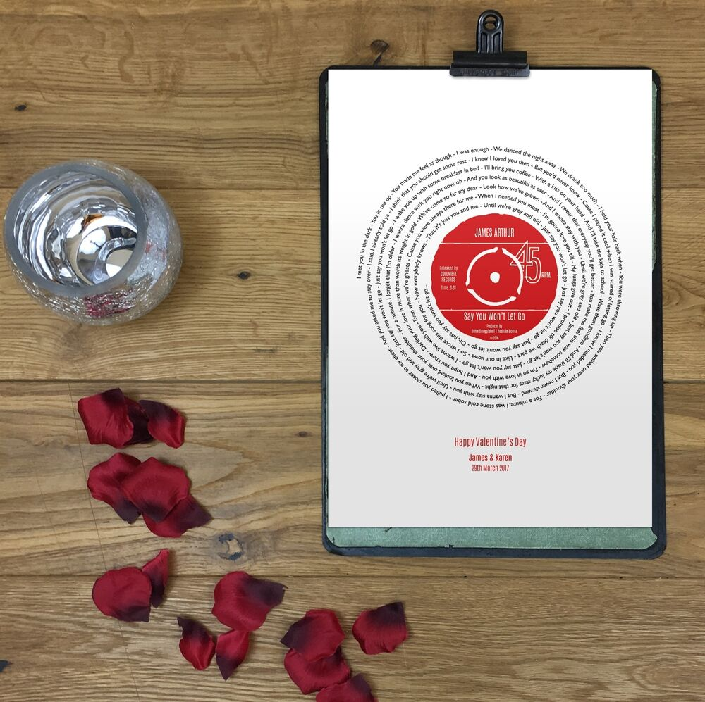 Personalised record poster anniversary gift favourite song