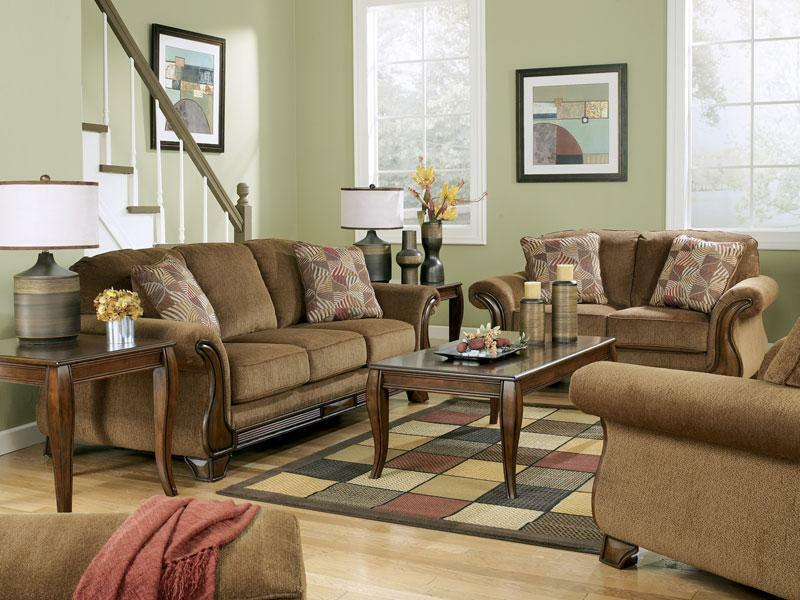 Celio Wood Trim Brown Microfiber Sofa Couch Loveseat Set