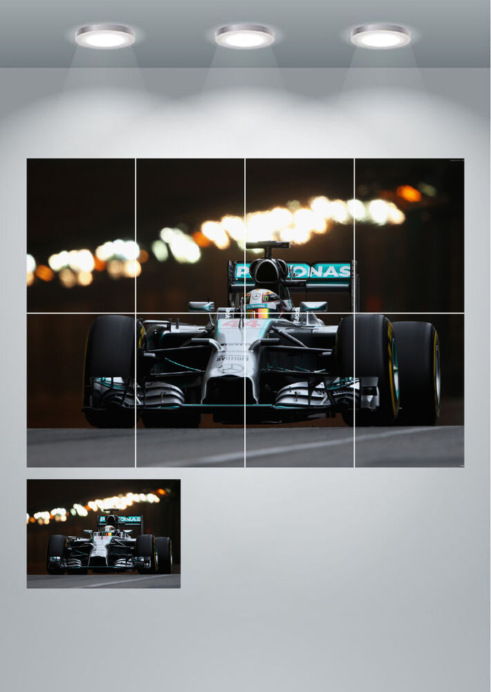 Mercedes f1 car large wall art poster print ebay for Mercedes benz wall posters