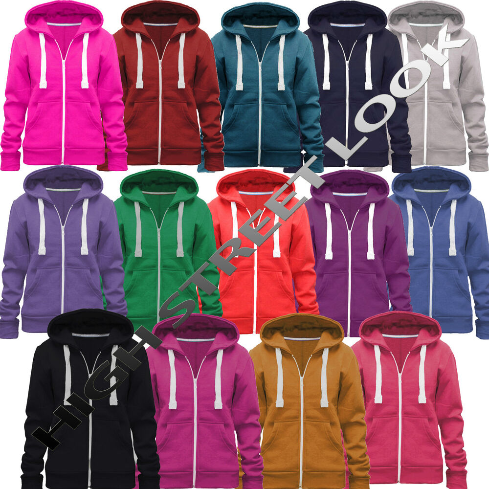 LADIES WOMENS HOODIE HOODED ZIP TOP ZIPPER SWEATSHIRT JACKET COAT ...
