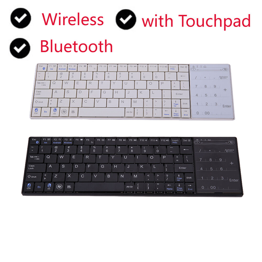 bluetooth mini wireless keyboard with touchpad for windows mac ios android ebay. Black Bedroom Furniture Sets. Home Design Ideas