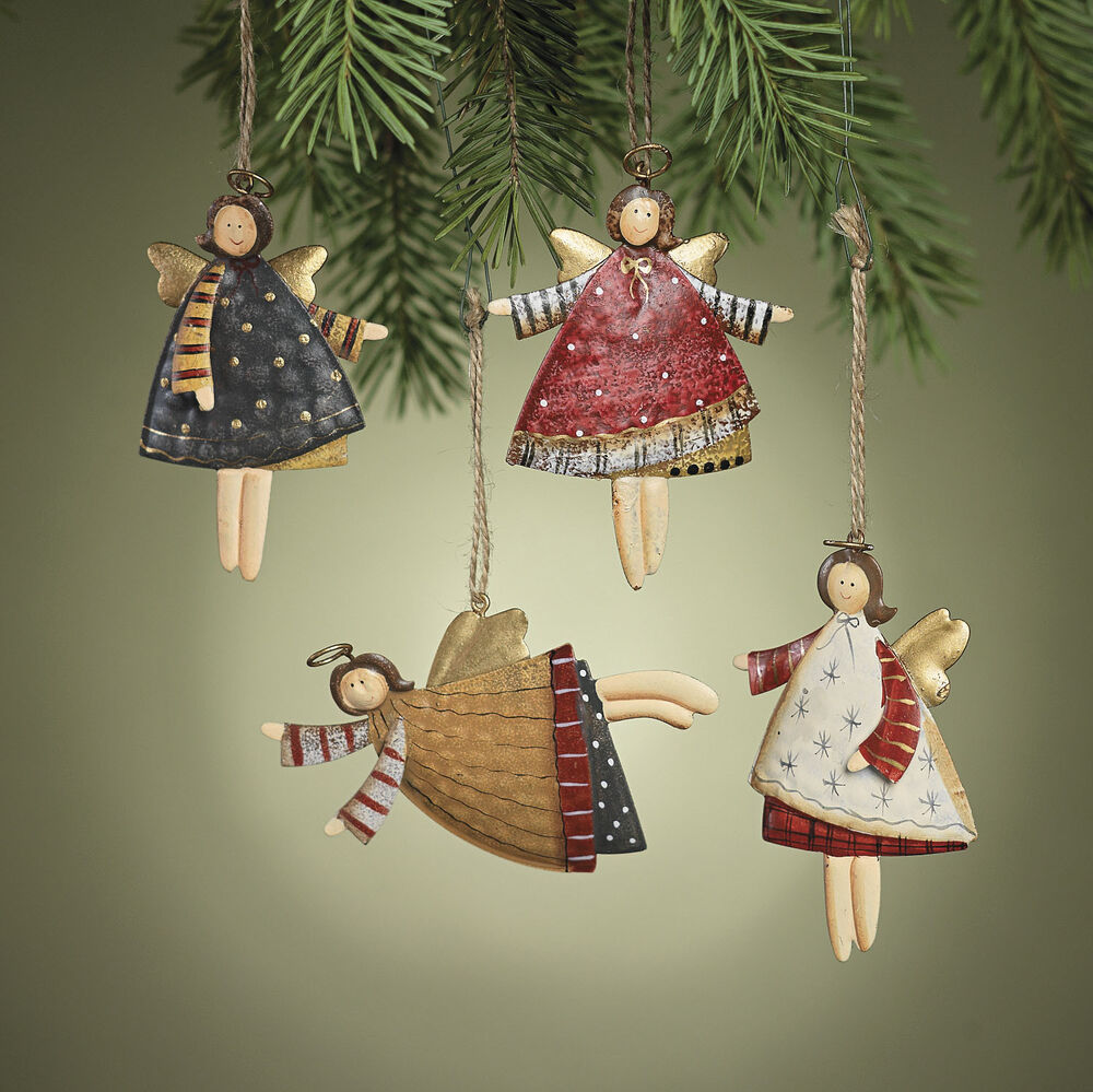 12 metal tin angel ornaments christmas tree holiday decor for Hanging christmas decorations