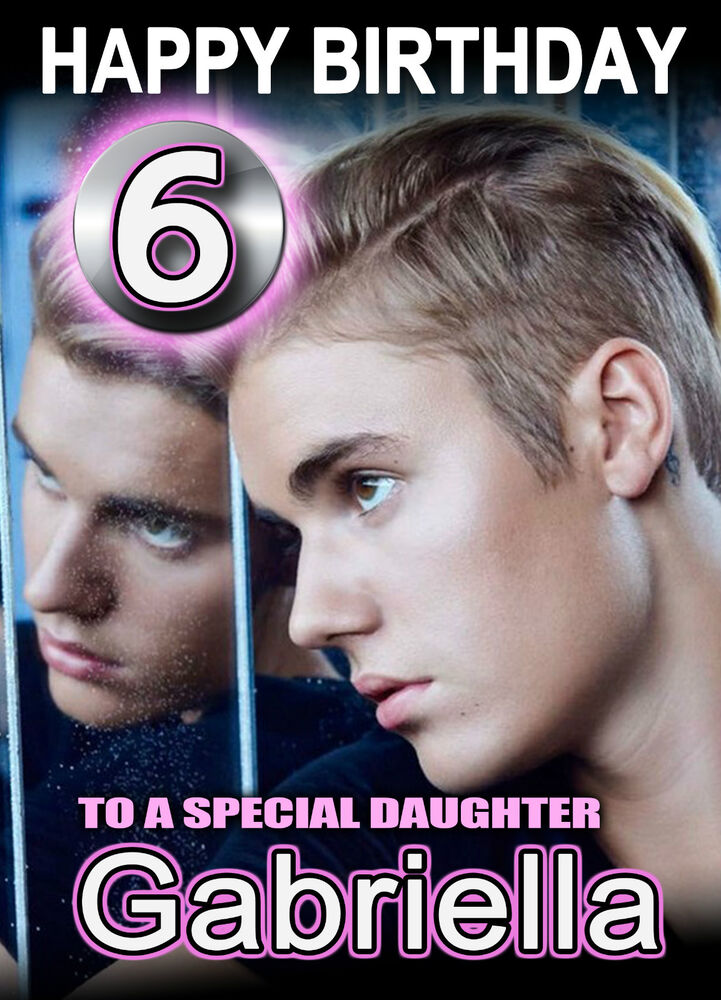 Details About Justin Bieber Birthday Card ANY NAME AGE RELATIVE Personalised A5 Custom Beiber
