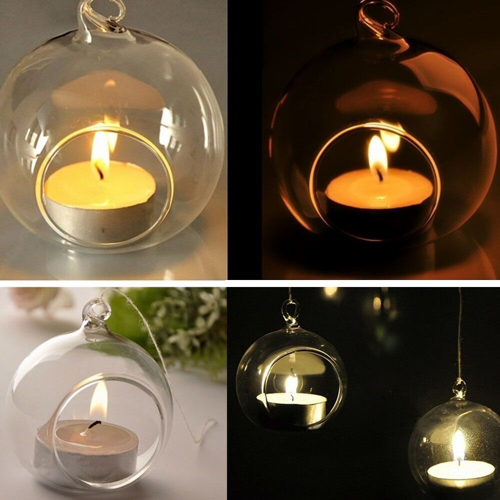3X 6X 12X Candle Tealight Holder Hanging Glass Candlestick