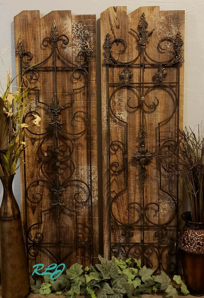 Rustic tuscan vintage scrolling garden gate wood metal for Wall art images home decor