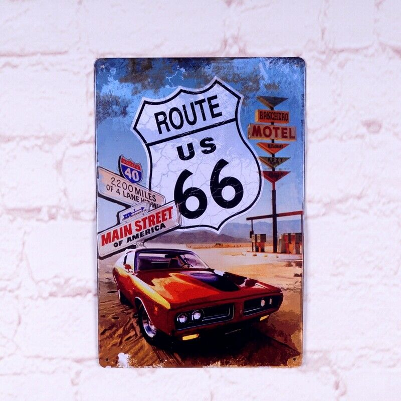 Vintage Metal Tin Signs Route 66 Tin Plate Art Poster Wall