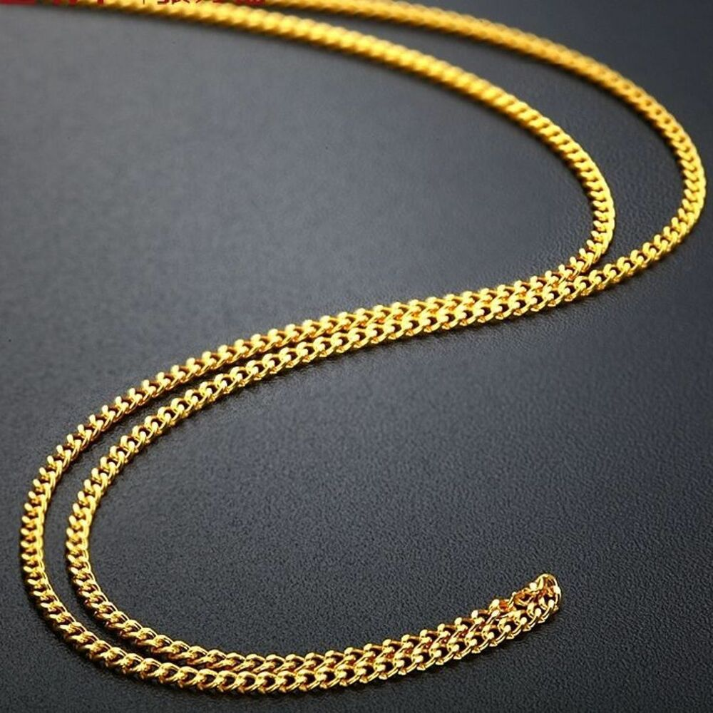 17.7inch Fine Solid 999 24k Yellow Gold Necklace Men Women ...
