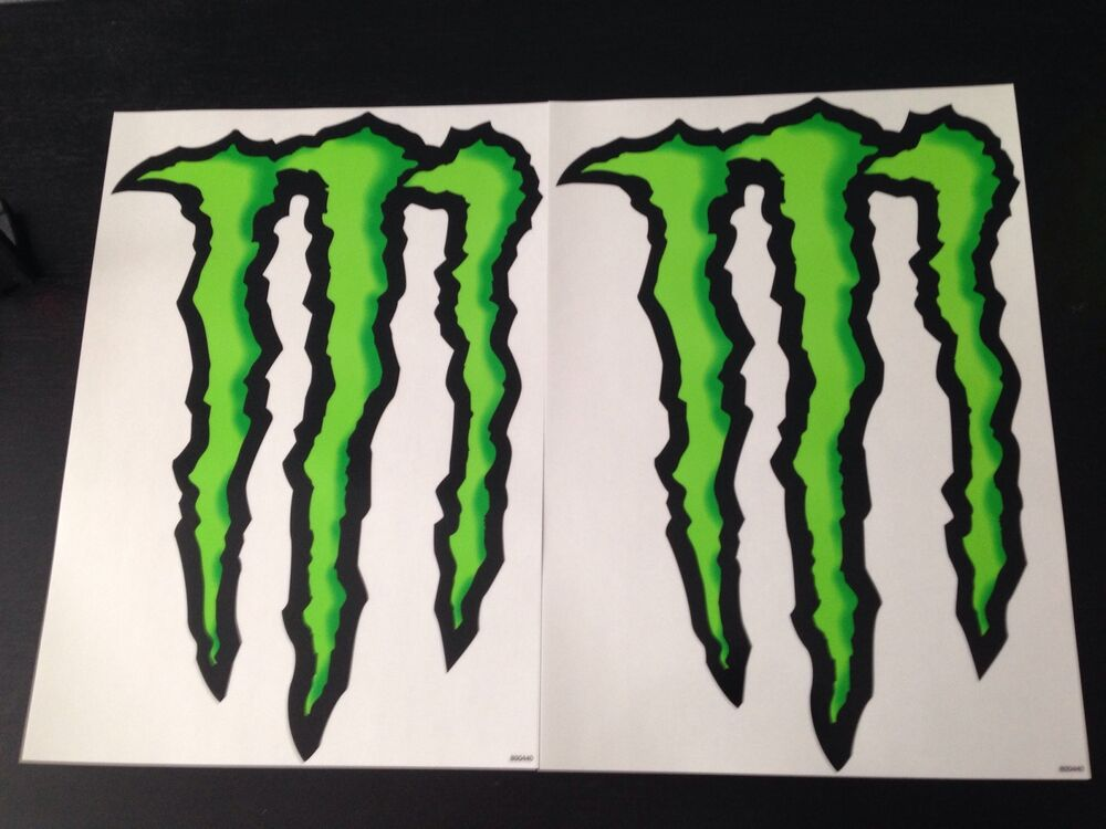 lot of 2 monster energy drink stickers claw 10x14 inches. Black Bedroom Furniture Sets. Home Design Ideas