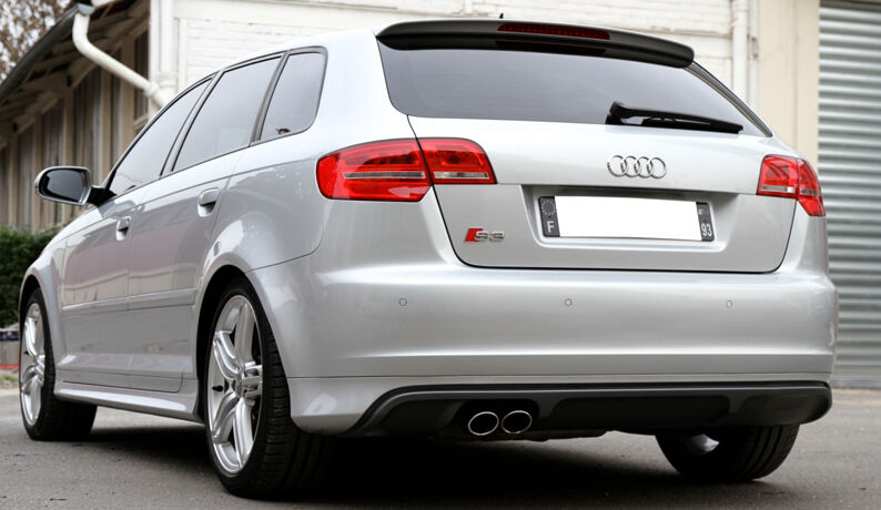 audi a3 8p sportback s3 look rear bumper spoiler skirt. Black Bedroom Furniture Sets. Home Design Ideas