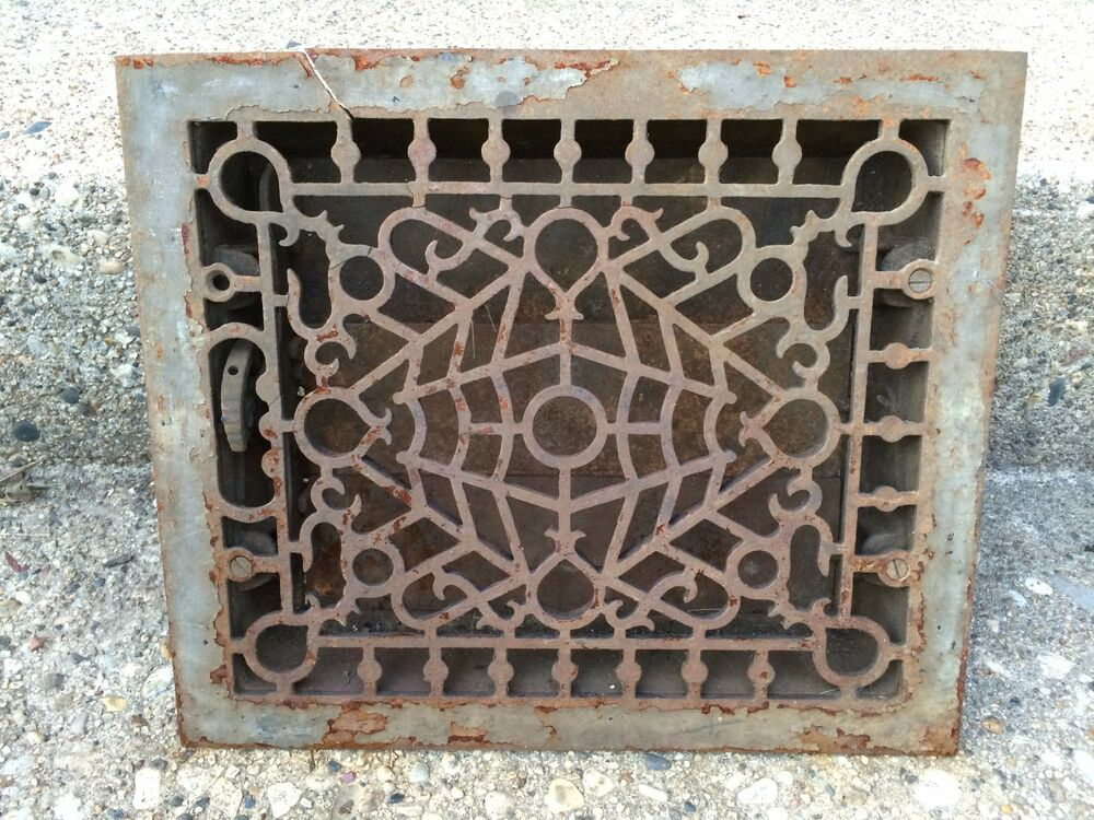 Vintage heat wall floor vent duct grate cover ornate for 10 x 12 floor grate