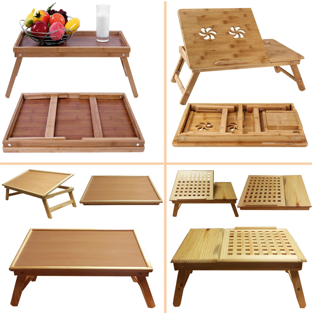 Folding Wooden Bed Bamboo Serving Lap Tray Lightweight