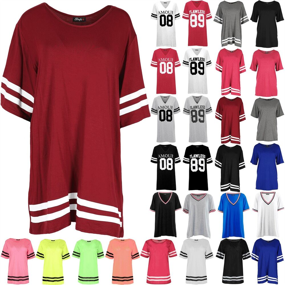 4de7708001 Details about Womens Baggy Baseball Mini Dress Tops Sleeve Stripe Oversized  Stretchy T Shirts