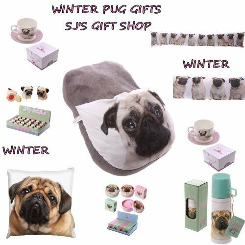Details about WINTER PUG GIFTS APRON MUGS MAKE UP TWEEZERS BAG HEAD PHONES XMAS PUGS CUTE