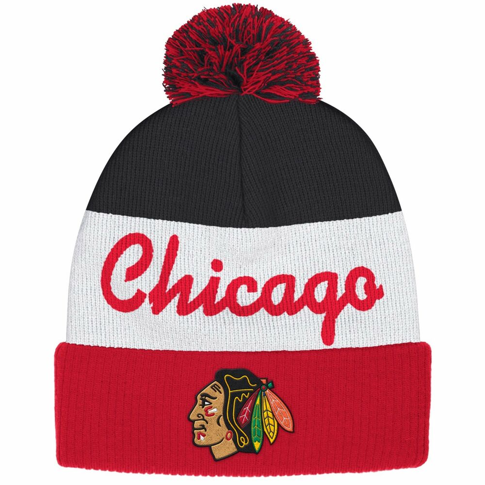 15948dad8e3 Details about Chicago Blackhawks Youth 8-20 Reebok Face Off Pom Knit Hat