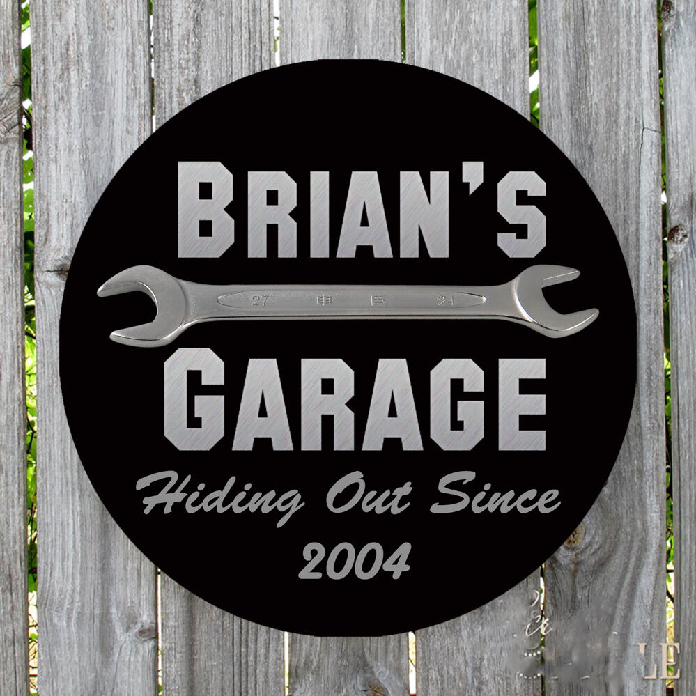 PERSONALIZED ROUND HIDING OUT SINCE METAL GARAGE SIGN | eBay