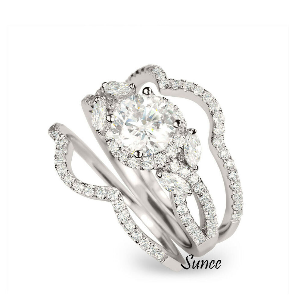 White Gold Wedding Ring Sets: 14K White Gold Sterling Silver Round Halo Cut Wedding