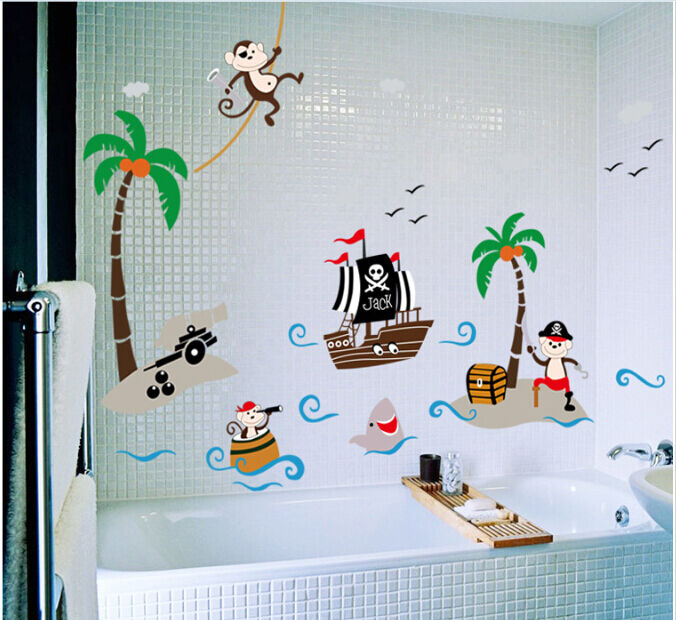 wandtattoo wandsticker piraten schiff kinderzimmer affen tiere baby kind junge ebay. Black Bedroom Furniture Sets. Home Design Ideas