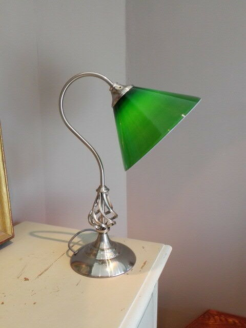 twisted chrome green glass shade desk table lamp 16052902. Black Bedroom Furniture Sets. Home Design Ideas