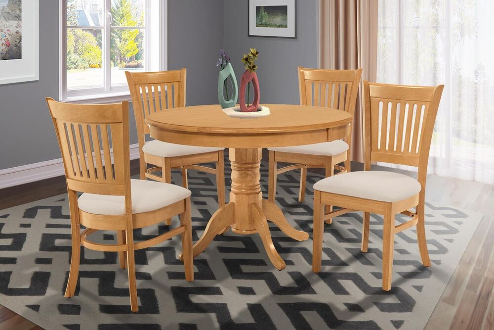 36 Quot Round Table Dinette Kitchen Dining Room Chair Set In Oak Finish Ebay