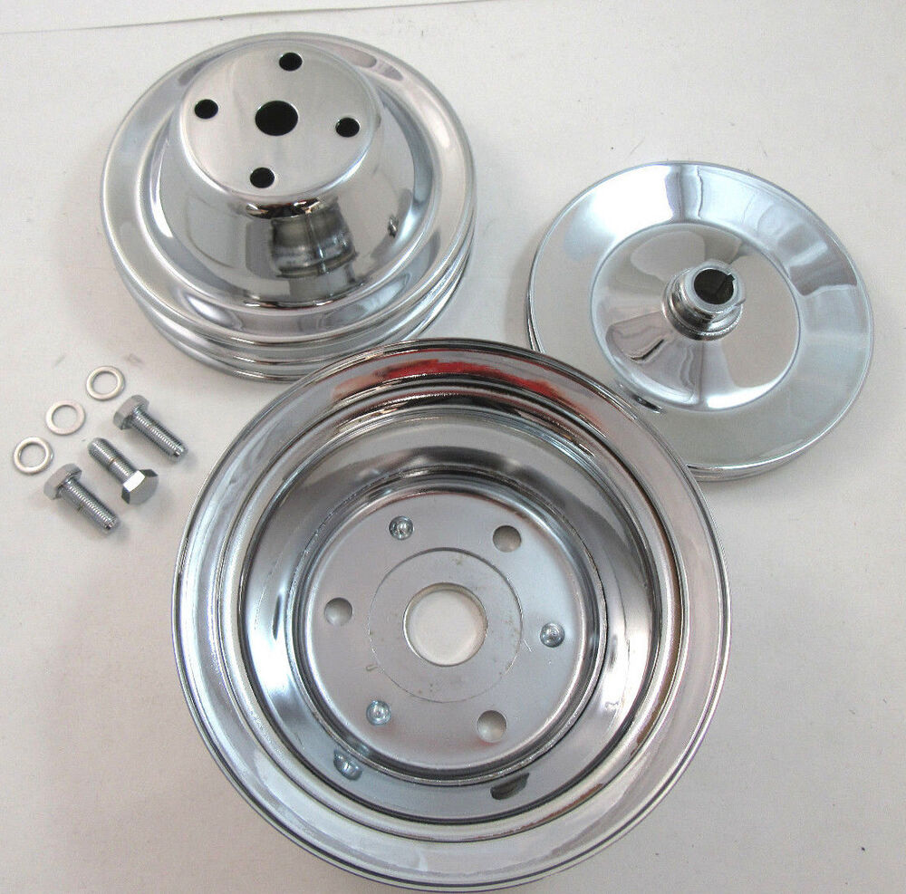 SB Chevy SBC Chrome Steel 2 Groove Long Water Pump Pulley