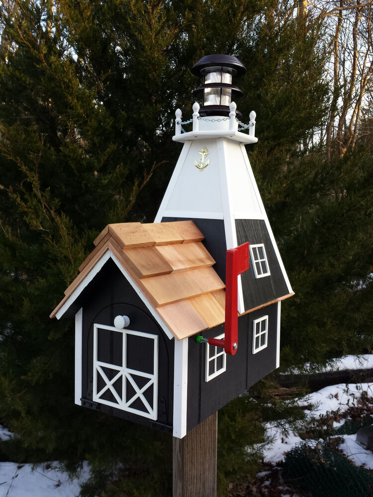 handmade mailboxes amish solar nautical lighthouse rural mailbox 7294