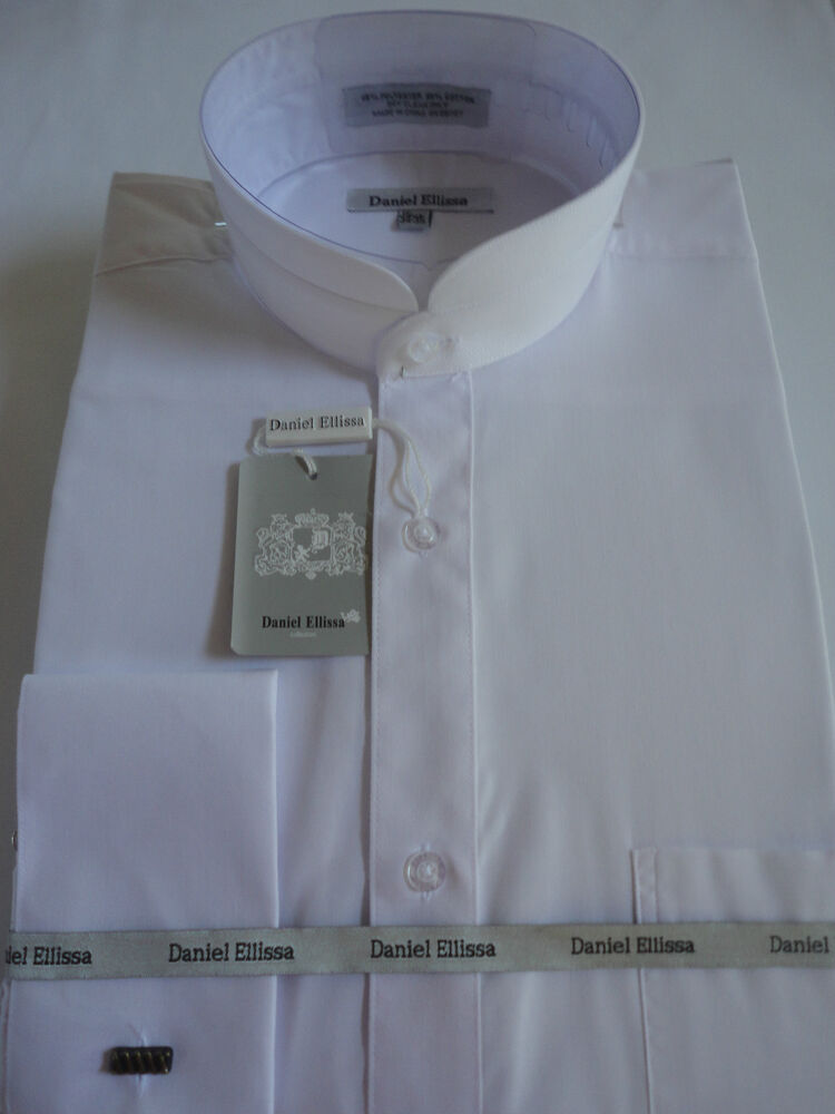 Mens white nehru banded victorian style collar french cuff for Mens shirt collar styles