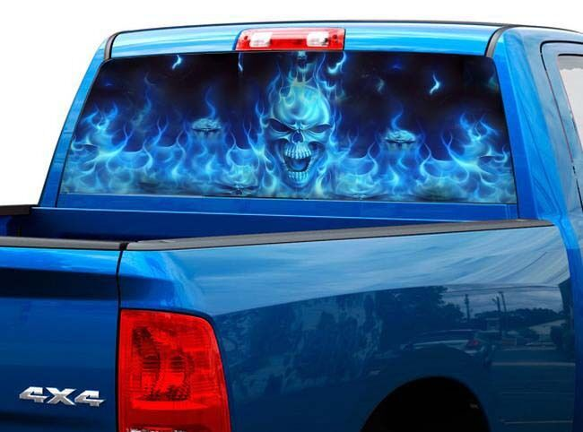 P492 Flaming Skull Rear Window Tint Graphic Decal Wrap