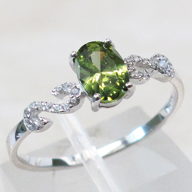 STYLISH 1 CT OVAL CUT OLIVINE 925 STERLING SILVER RING SIZE 5-10