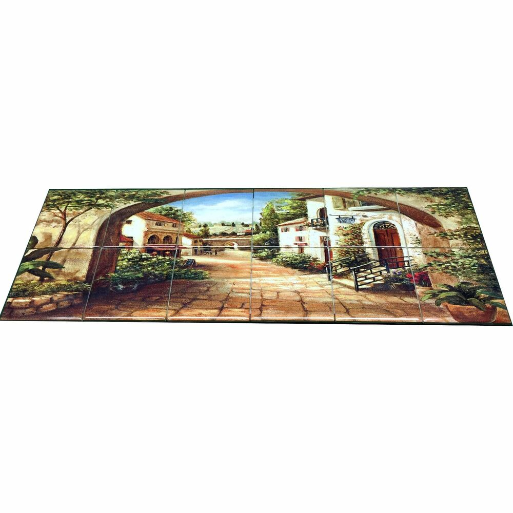 Hangable tile mural kitchen backsplash kitchen art for Ceramic tile mural backsplash