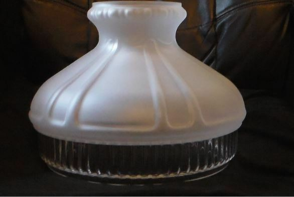 Glass Oil Lamp Shades : Quot clear panel satin crystal etched glass oil kerosene