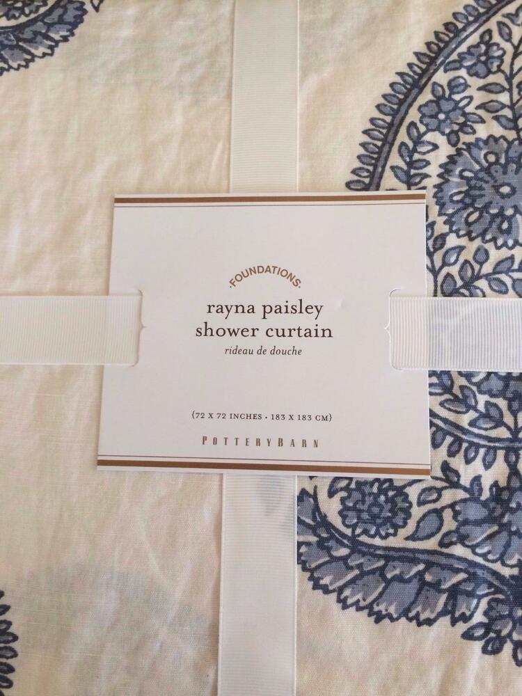 new pottery barn rayna paisley shower curtain linen cotton blend 72 blue nwt ebay. Black Bedroom Furniture Sets. Home Design Ideas