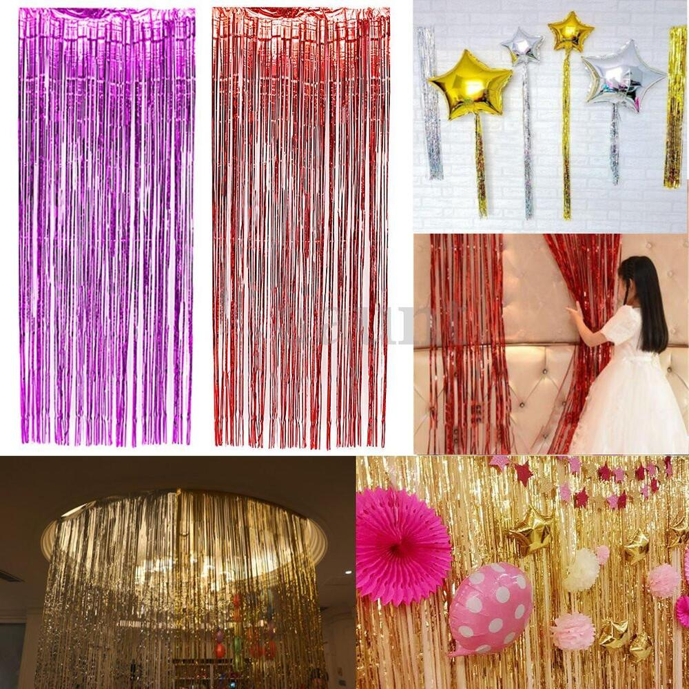 5Color Christmas Metallic Fringe Curtain Party Foil Tinsel