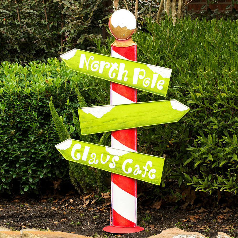 Big north pole outdoor christmas sign ebay for Outdoor christmas signs