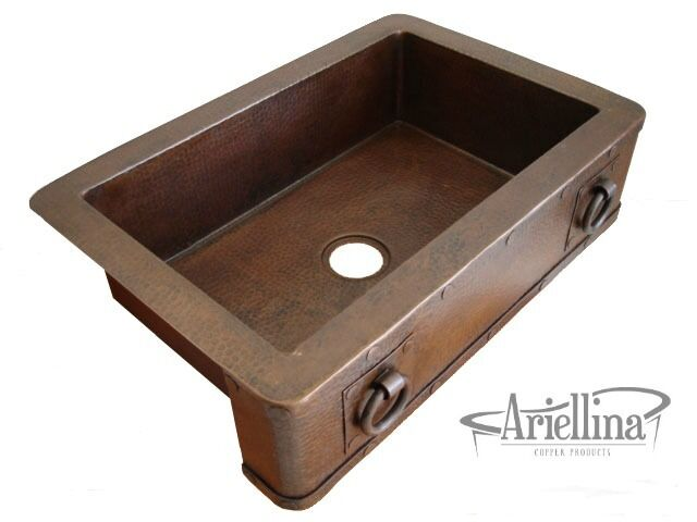 Ariellina Farmhouse 14 Gauge Copper Kitchen Sink Lifetime