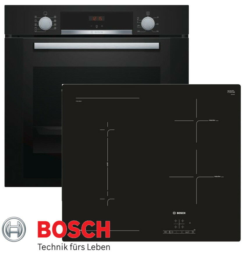 herdset induktion bosch einbau backofen umluft schwarz induktion kochfeld flexi ebay. Black Bedroom Furniture Sets. Home Design Ideas