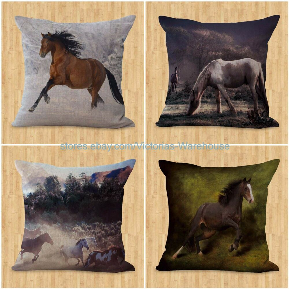 Throw Pillow Covers Set Of 4 : set of 4 couch throw pillow case horse pillow cushion covers equine eBay