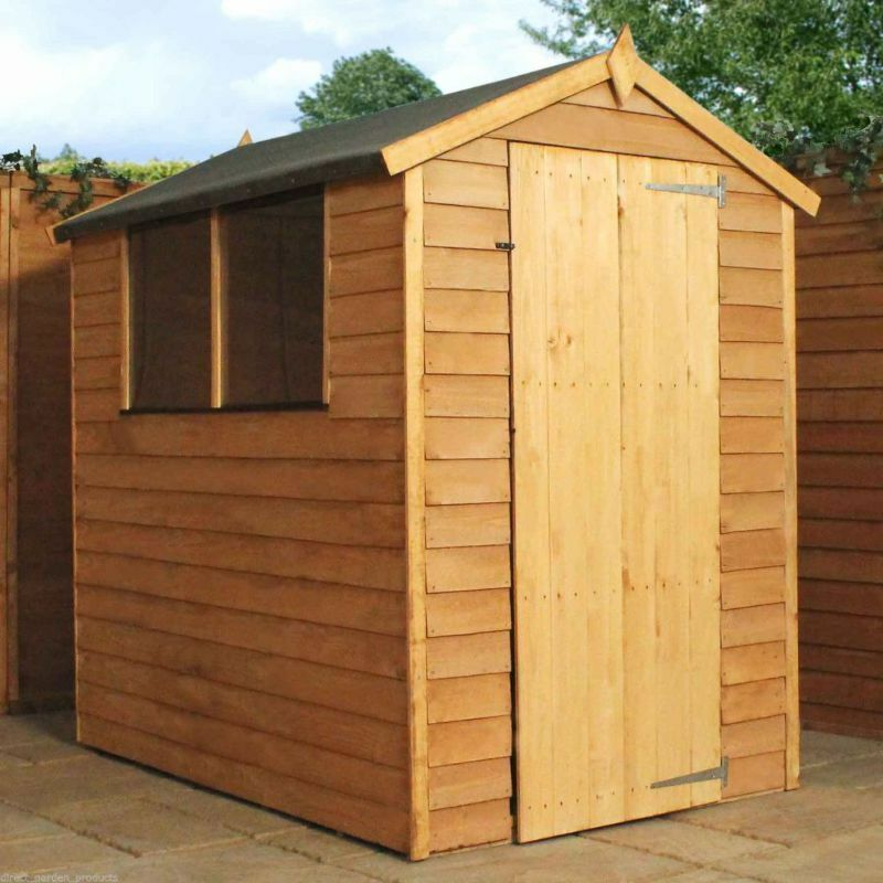 6x4 garden shed single door apex wooden sheds overlap clad for Garden shed 6x4 sale