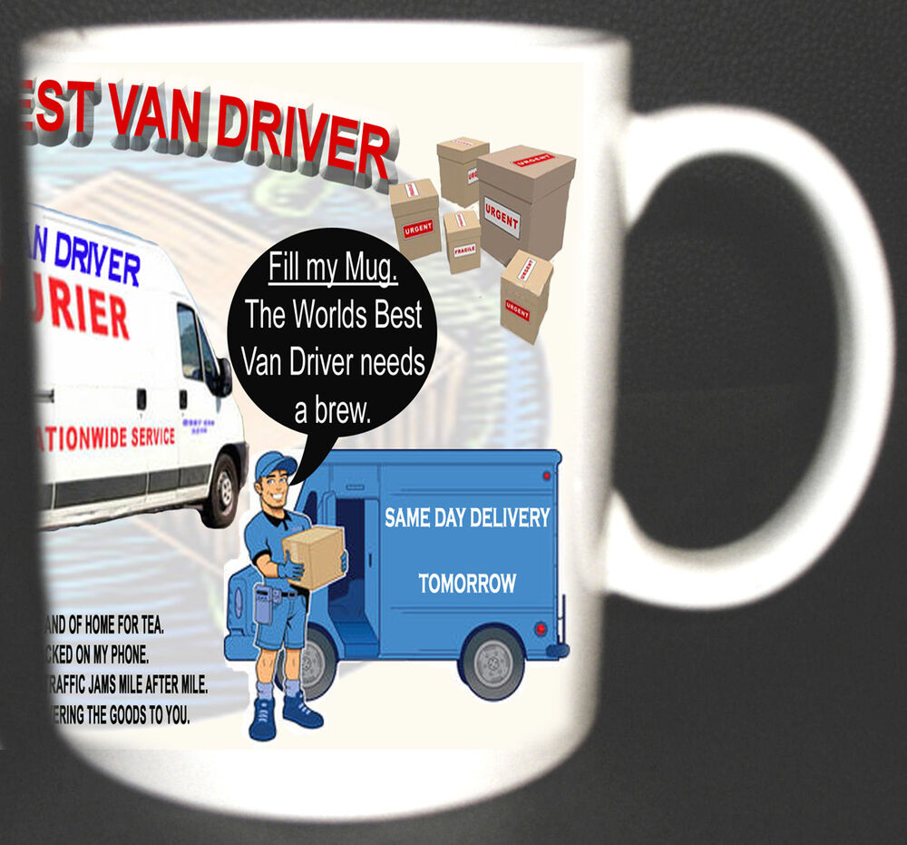 Worlds Best Van Driver Mug Delivery Courier Truck Drivers Poem Add