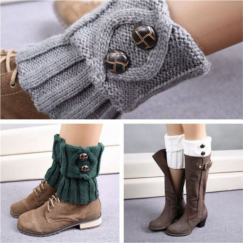 fashion crochet knitted button cuffs toppers