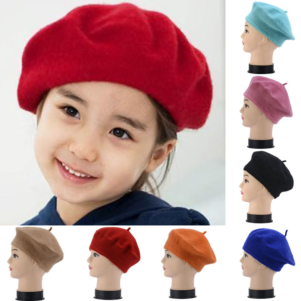 Details about French Style Baby Kid Girls Wool Soft Winter Warm Plain Beret  Beanie Hat a42f41511dc7