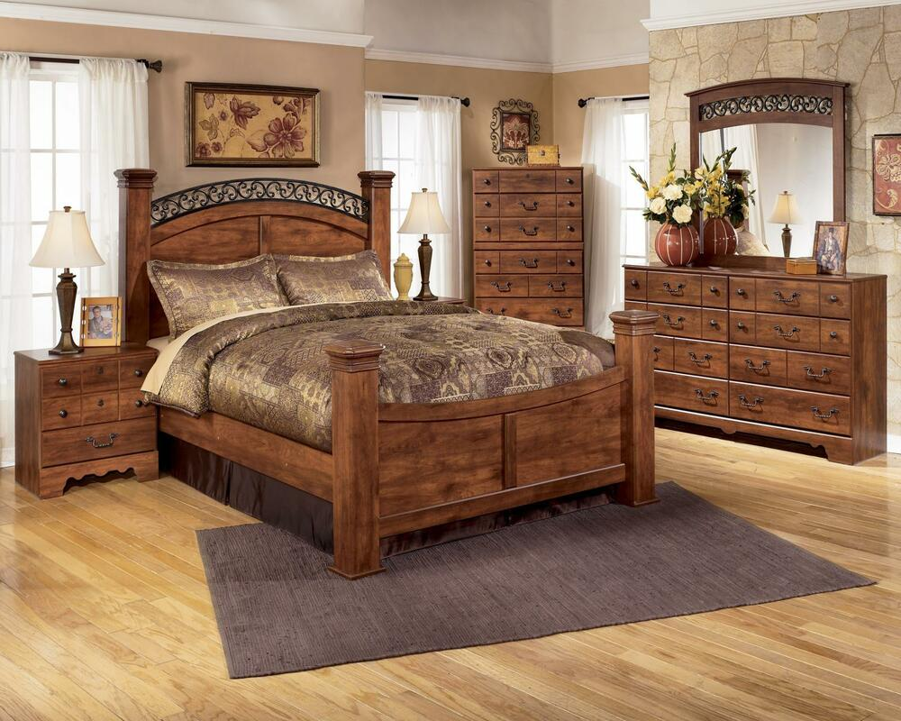Ashley Timberline B258 King Size Poster Bedroom Set 6pcs In Warm Brown Casual Ebay